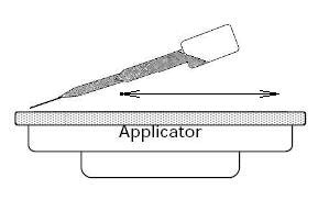Fill dropper and squeeze over applicator